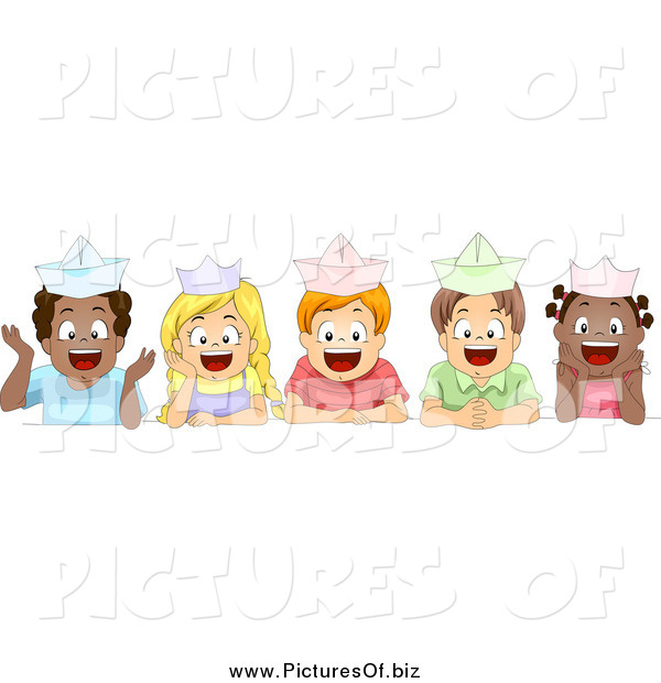 Vector Clipart of Diverse School Children Wearing Paper Hats