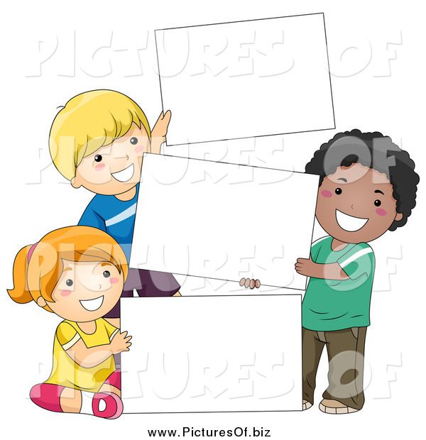 Vector Clipart of Diverse School Children with Blank Signs