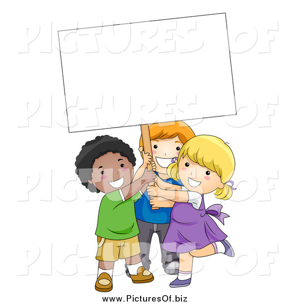 Vector Clipart of Diverse School Kids Holding a Sign