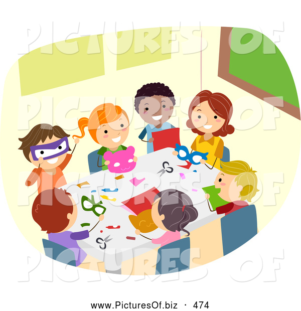 Vector Clipart of Diverse Stick Children Doing Crafts