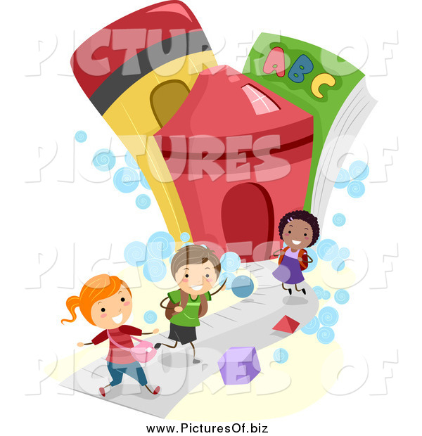 Vector Clipart of Diverse Stick Children Running to a School