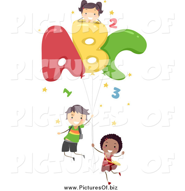 Vector Clipart of Diverse Stick Children with Letter Balloons