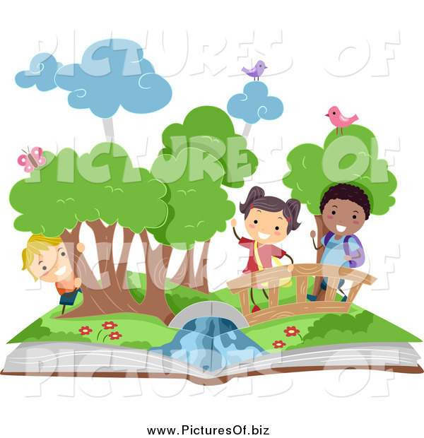Vector Clipart of Diverse Stick Kids in a Pop up Book Scene