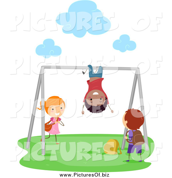 Vector Clipart of Diverse Stick Kids Playing on the Monkey Bars