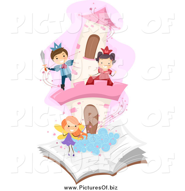 Vector Clipart of Diverse Students Playing in a Pop up Story Book