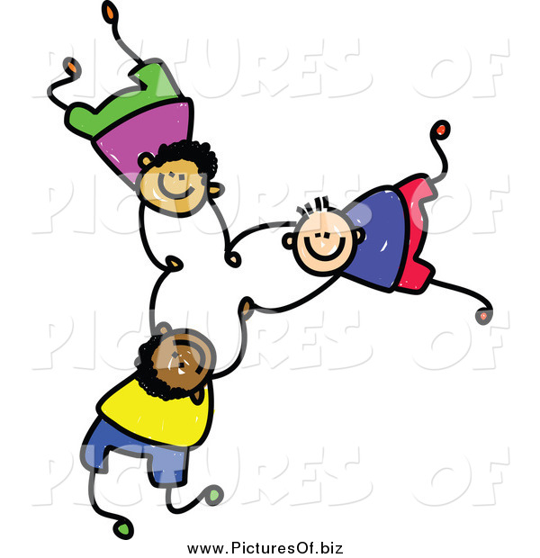 Vector Clipart of Doodled Boys Falling and Holding Hands