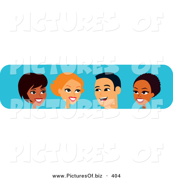 Vector Clipart of Four Diverse Black, White and Hispanic Men and Women Chatting