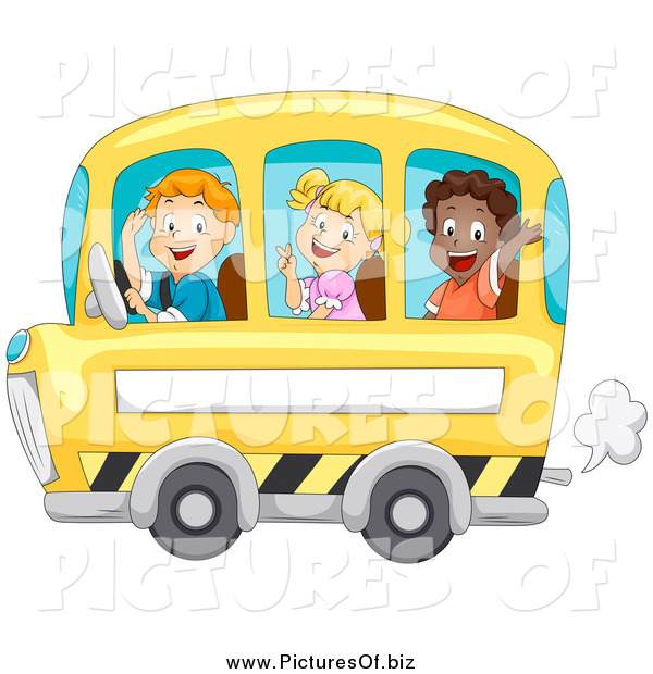 Vector Clipart of Happy Children Waving and Riding a School Bus