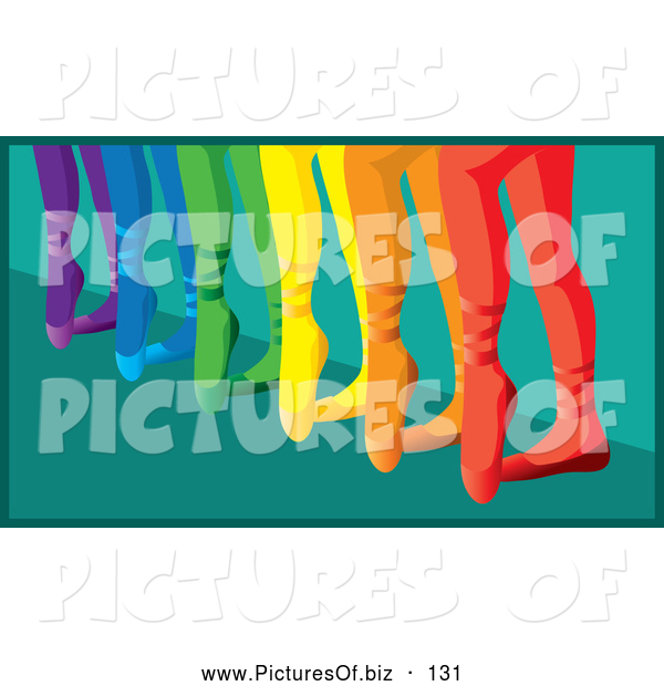 Vector Clipart of Happy Colorful Ballerina Feet in Slippers
