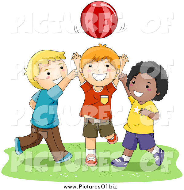 Vector Clipart of Happy Diverse Boys Playing Catch with a Ball