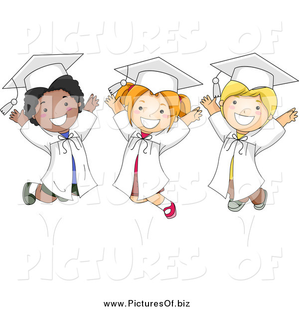 Vector Clipart of Happy Diverse Graduate Kids Jumping