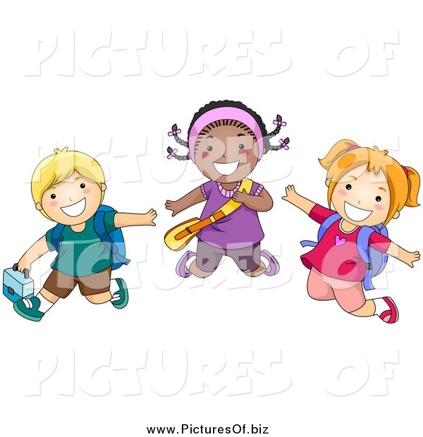 Vector Clipart of Happy Diverse School Children Jumping