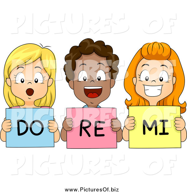 Vector Clipart of Happy Diverse School Children Singing Do Re Mi