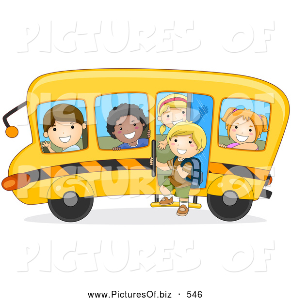 Vector Clipart of Happy Diverse School Kids on a Bus