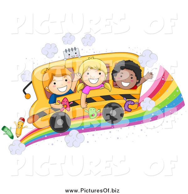 Vector Clipart of Happy Diverse School Kids on a Bus over a Rainbow Road