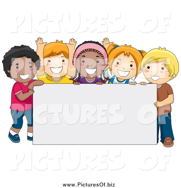 Vector Clipart of Happy Diverse School Kids with a Blank Sign