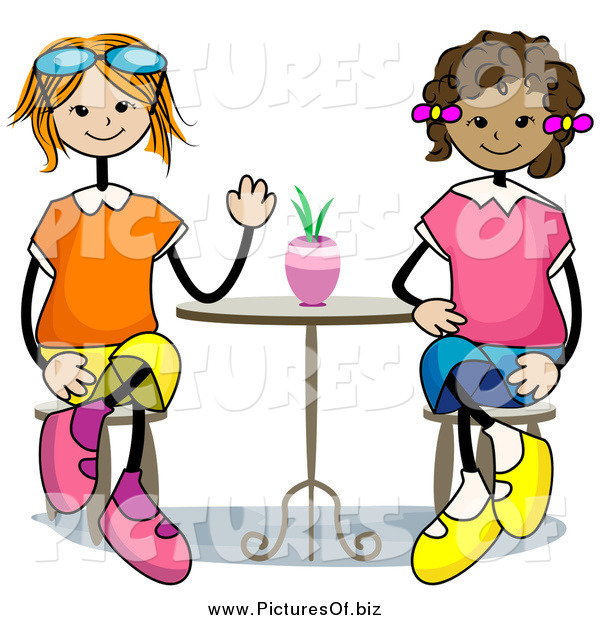 Vector Clipart of Happy Stick Girls Sitting at a Table