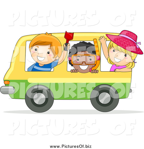 Vector Clipart of Happy Stick Kids on a Bus Heading to the Beach