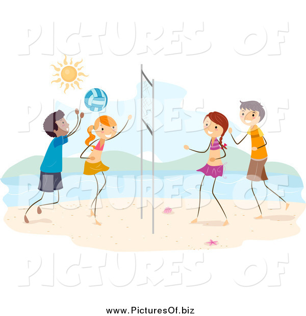Vector Clipart of Happy Stick Kids Playing Beach Volleyball