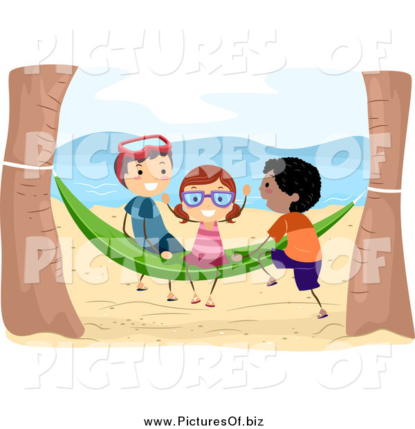 Vector Clipart of Kids Playing on a Beach Hammock