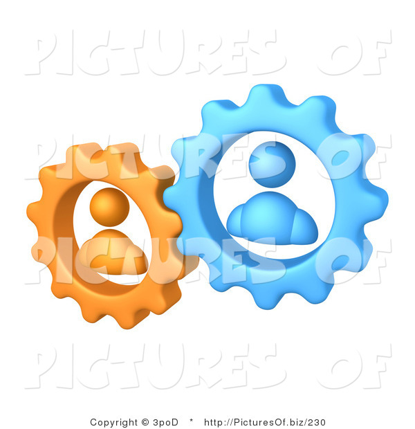 Vector Clipart of Orange and Blue Avatar Gears