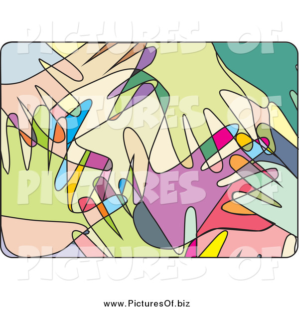 Vector Clipart of Overlapping Abstract Colorful Hands