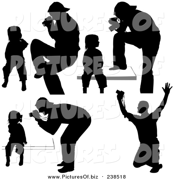 Vector Clipart of Silhouetted Photographers