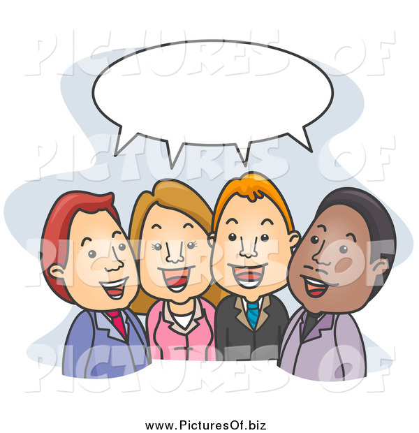 Vector Clipart of Social Business People Talking Under a Word Balloon
