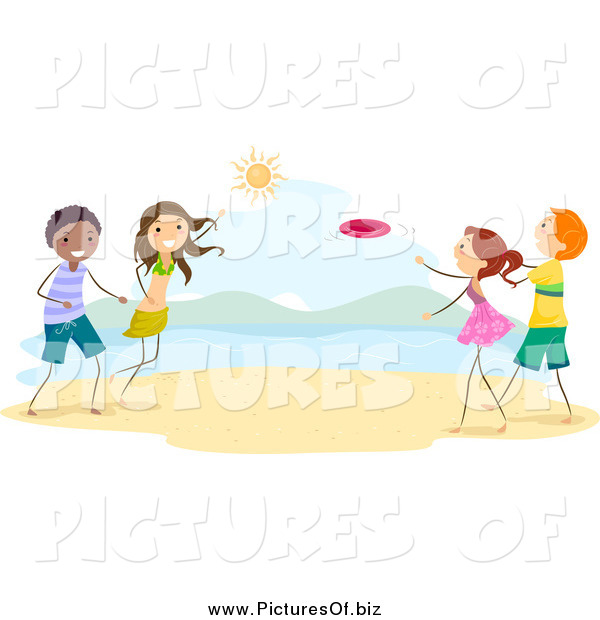 Vector Clipart of Stick Children Playing Frisbee on the Beach