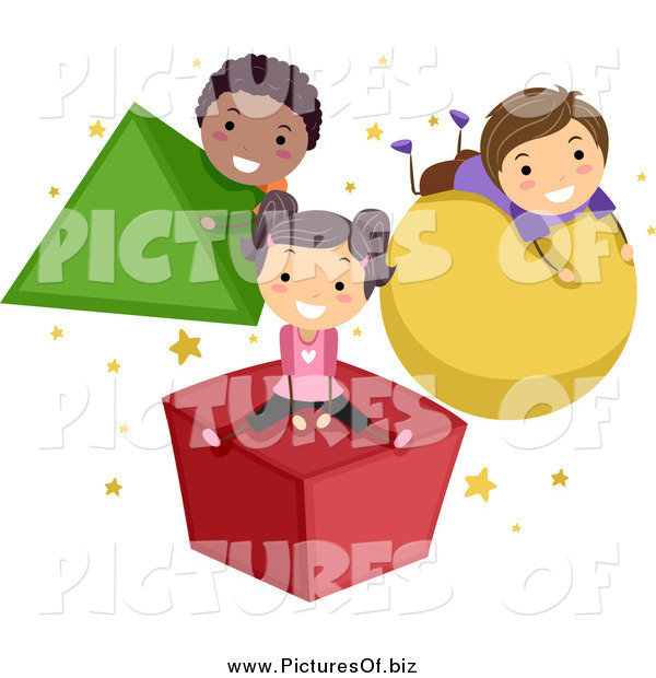 Vector Clipart of Stick Children Playing on Shapes