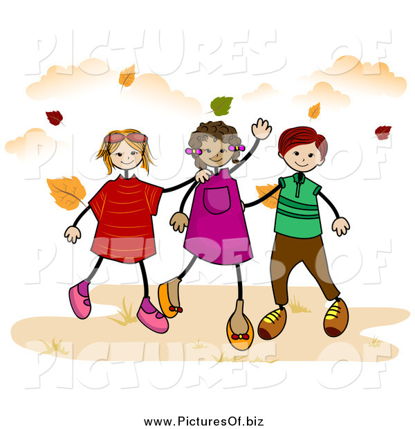Vector Clipart of Stick Children Walking in Autumn