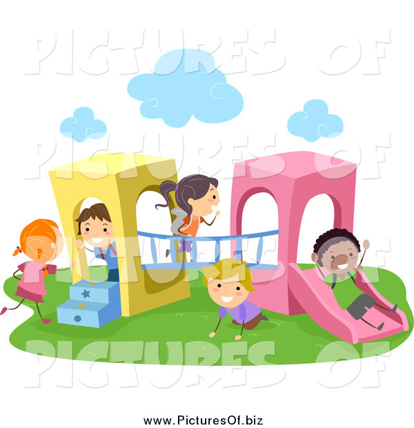 Vector Clipart of Stick Kids Playing on a Playground Structure