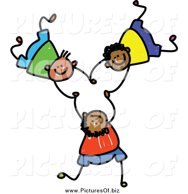 Vector Clipart of Three Boys Falling and Holding Hands