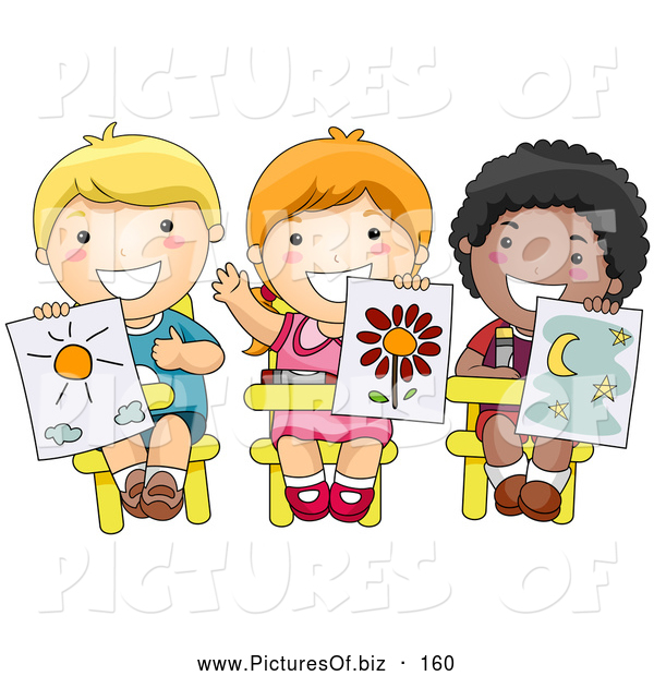 Vector Clipart of Three Cute Diverse School Children Holding up Their Drawings in Art Class