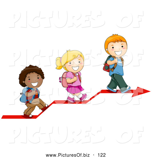 Vector Clipart of Three Cute Diverse School Children Walking up on an Arrow