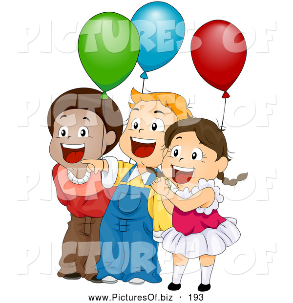 Vector Clipart of Three Cute Happy Children Laughing and Holding Balloons at a Birthday Party