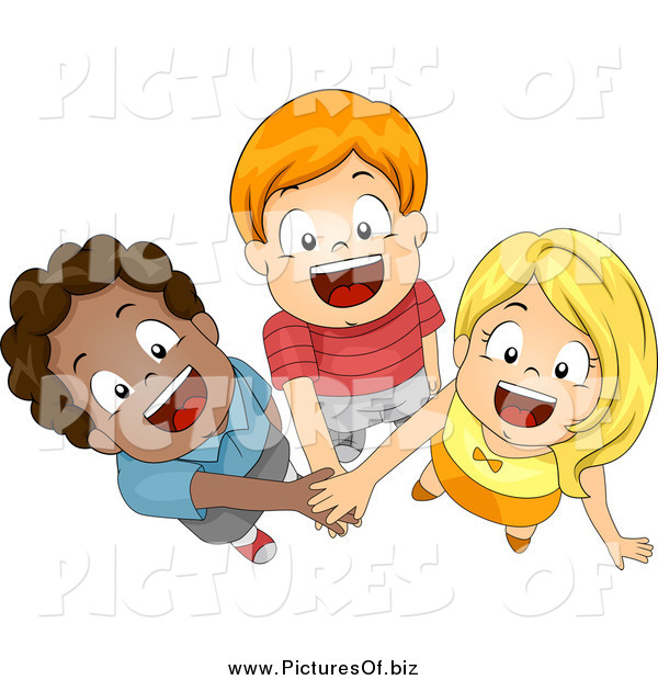 Vector Clipart of Three Happy Diverse Children Joining Forces with Their Hands In, Looking up