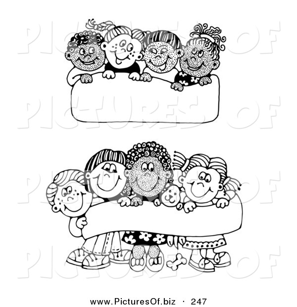 Vector Clipart of Two Scenes of Diverse Groups of Children Holding up Blank Signs and Banners