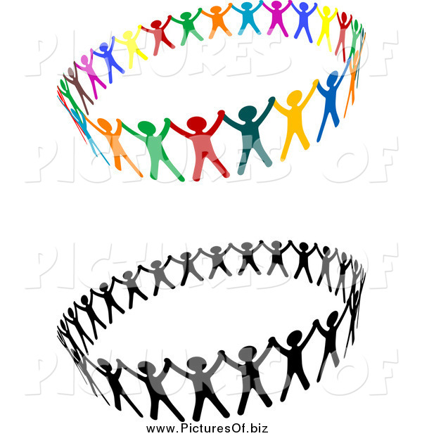 Vector Clipart of Unified Rings of People