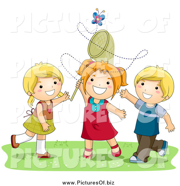 Vector Clipart of White Girls and a Boy Trying to Catch a Butterfly with a Net