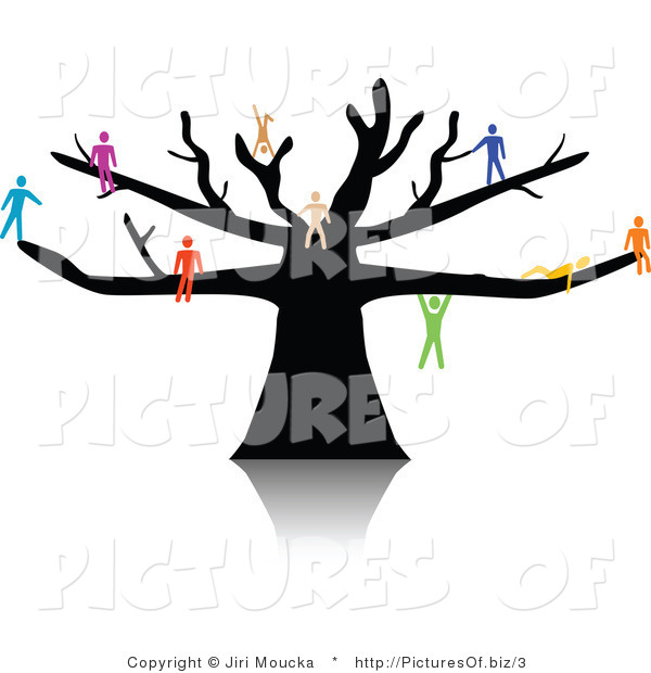 Vector of Colorful People Gathered on a Tree