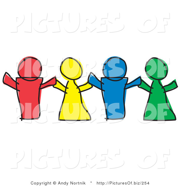 Vector of Diverse Paper Dolls or Children Holding Hands