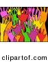 Clipart of a Anxious, Diverse and Colorful Raised Hands on a Black Background by Prawny