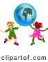 Clipart of a Boy and Girl Holding up a Large Globe by Prawny