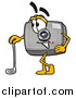Clipart of a Camera Mascot Leaning on a Golf Club While Golfing by Toons4Biz