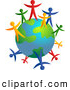 Clipart of a Colorful People Standing Around an Earth Globe Together by Prawny