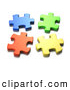 Clipart of a Four Seperated 3d Blue, Green, Orange and Yellow Jigsaw Puzzle Pieces Coming Together by Tonis Pan