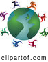 Clipart of a Friendly Team of Businessmen Running Around a Globe by Prawny