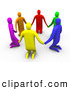 Clipart of a Group of 3d Colorful People Kneeling and Holding Hands in a Circle by 3poD