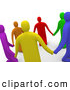 Clipart of a Group of 3d Colorful People Praying and Holding Hands in a Circle, on White by 3poD